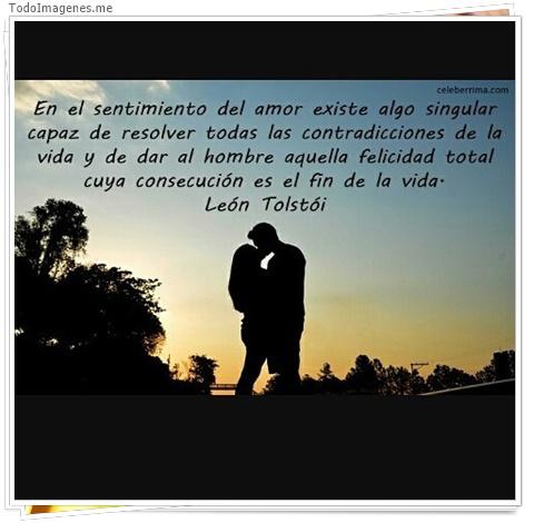 En el sentimiento del amor existe algo singular capaz de resolver todas las contradicciones de la vida y de dar al hombre aquella felicidad total cuya consecución es el fin de la vida. León tolstoi