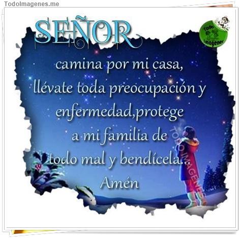SEÑOR camina por mi casa, llévate toda preocupación y enfermedad, protege a mi familia de todo mal y bendícela...Amén