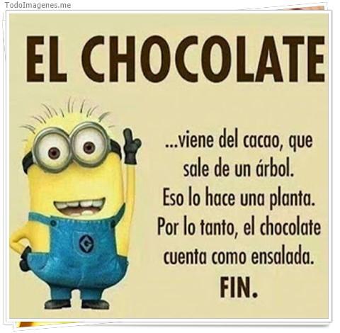 EL CHOCOLATE...viene del cacao, que sale de un arbol, Eso lo hace una planta. Por lo tanto, el chocolate cuento como ensalada. FIN