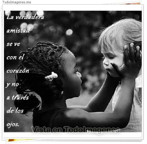 La verdadera amistad se ve con el corazón y no a través de los ojos.