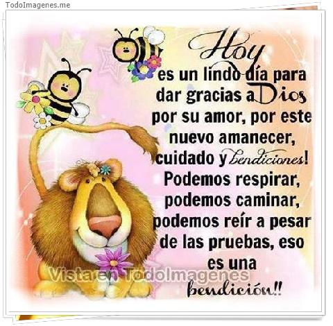 Hoy es un lindo día para dar gracias a Dios por su amor, por este nuevo amanecer, cuidado y Bendiciones! Podemos respirar,podemos caminar,podemos reír a pesar de las pruebas,eso es una bendición!!