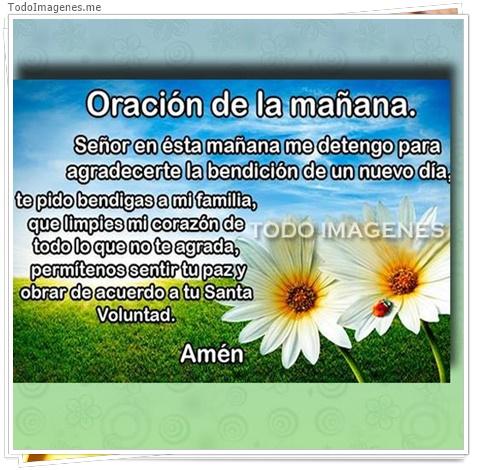 Oracion de la mañana. Señor es esta mañana me detengo para agradecerte la bendicion de un nuevo dia, te pido bendigas a mi familia,que limpies mi corazon de todo lo que no te agrada,permitenos sentir tu paz y obrar de acuerdo a tu santa voluntad, Amen
