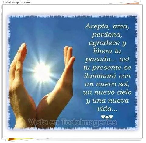 Acepta,ama,perdona,agradece y libera tu pasado...así tu presente se iluminará con un nuevo sol, un nuevo cielo y una nueva vida...
