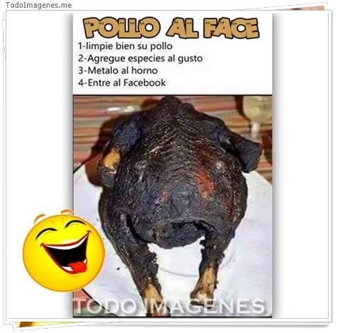 POLLO AL FACE 1 limpie el pollo 2 aGregue especies al gusto 3 Metalo al horno 4 Entre al Facebook