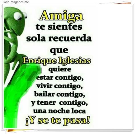 Amiga te sientes sola recuerda que Enrique Iglesias quiere estar contigo,vivir contigo,bailar contigo,y tener contigo una noche loca Y se te pasa !