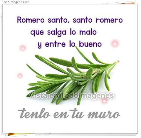 Romero santo, santo romero que salga lo malo y entre lo bueno. Tenlo en tu muro