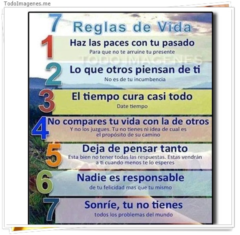 7 reglas de la vida, 1 haz las paces con tu pasado,2 lo que otros piensan de ti 3 el tiempo cura casi todo,4 no compares tu vida con la de otros,5 deja de pensar tanto, 6 nadie es responsable,7sonrie tu no tienes