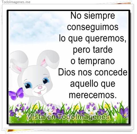 No siempre conseguimos lo que queremos pero tarde o temprano Dios nos concede aquello que merecemos