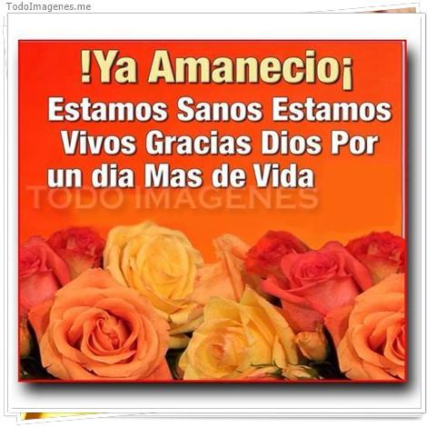 Ya Amanecio, estamos sanos estamos vivos gracias Dios por un dia mas de vida