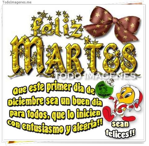 Feliz MARTES Que este primer dia de Diciembre sea un buen dia para todos, que lo inicien con entusiasmo y alegria !!