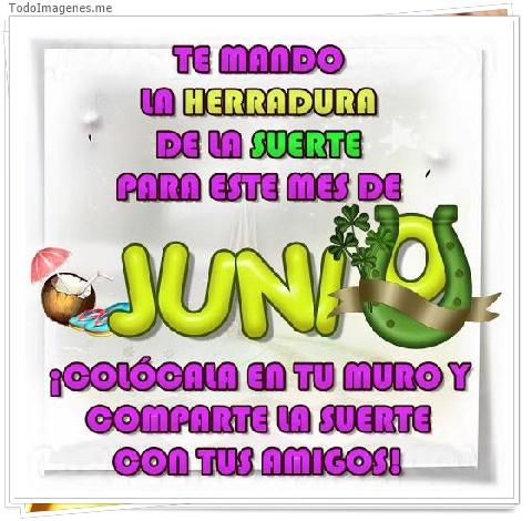 TE MANDO LA HERRADURA DE LA SUERTE PARA ESTE MES DE JUNIO ¡ COLÓCAME EN TU MURO Y COMPARTE LA SUERTE CON TUS AMIGOS!