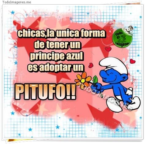 Chicas, la única forma de tener un príncipe azul es adoptar un Pitufo !!
