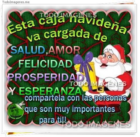 Esta caja navideña va cargada de SALUD,AMOR,FELICIDAD,PROSPERIDAD Y ESPERANZA compartela con las personas que son muy importantes para ti !!