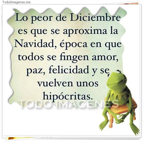 Lo peor de Diciembre es que se aproxima la Navidad, época en que todos se fingen amor, paz,felicidad y se vuelven unos hipócritas