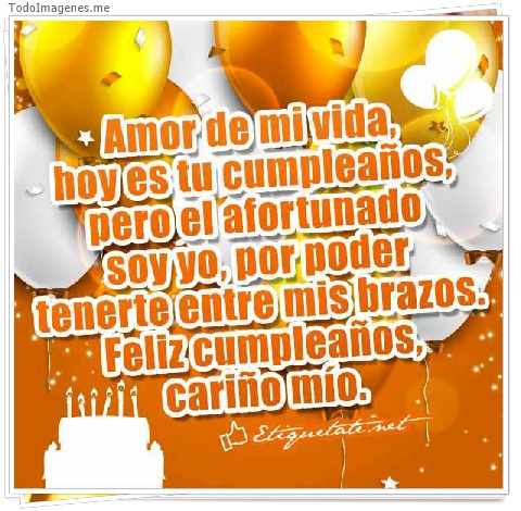Amor de mi vida hoy es tu cumpleaños, pero el afortunado soy yo, por poder, tenerte entre mis brazos. Feliz cumpleaños, cariño mio