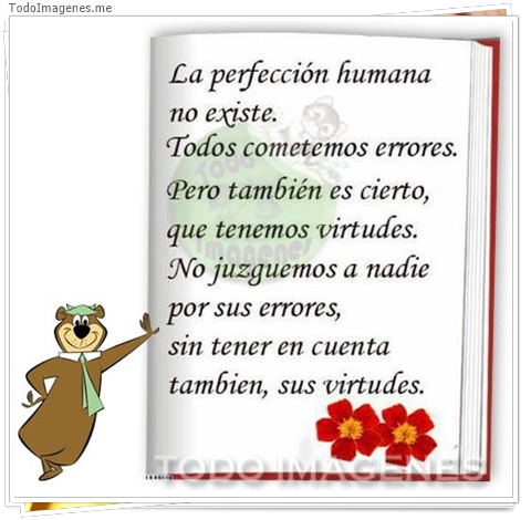 La perfeccion humana no existe. Todos cometemos erroes, pero tambien es cierto,que tenemos virtudes.No juzguemos a nadie por sus errores,sin tener en cuenta tambien sus virtudes