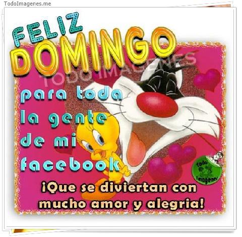 FFELIZ DOMINGO para toda la gente de mi facebook Â¡ Que se diviertan con mucho amor y alegria!