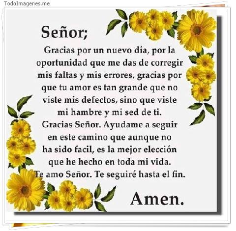 Señor; Gracias por un nuevo día, por la oprtunidad que me das de corregir mis faltas y mis errores...