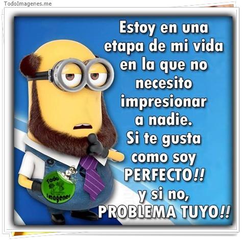Estoy en una etapa de mi vida en la que no necesito impresionar a nadie. Si te gusta como soy PERFECTO !! y si no, PROBLEMA TUYO !!