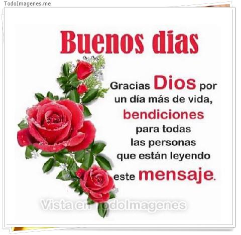 Buenos dias Gracias Dios por un día más de vida bendiciones para todas las personas que están leyendo este mensaje