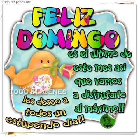Feliz Domingo, es el último de este mes, así que vamos a disfrutarlo al máximo !! Les deseo a todos un estupendo día !!