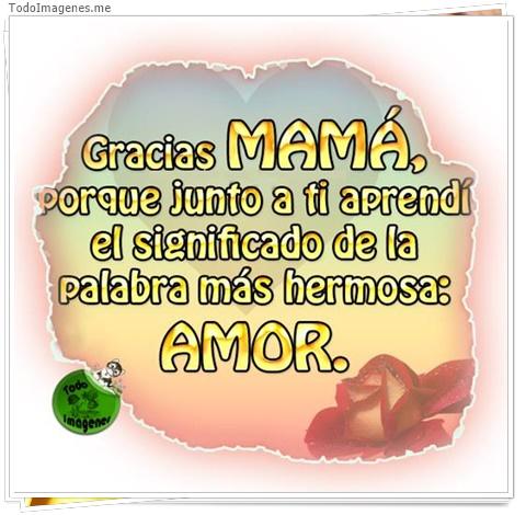 Gracias MAMA porque junto a ti aprendí el significado de las palabra mas hermosa: AMOR